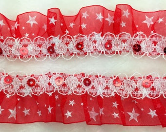 1 3/16 inch wide red/white ruffled organza  Sequined trim 1 yard and 33 inch cut