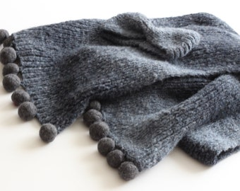 Hand-knitted Scarf DEEP BLUE + Free Headband By VidaFelt - Free Shipping!