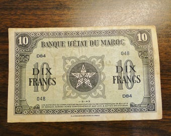 1943 Morocco 10 Francs - Nice Old Note!