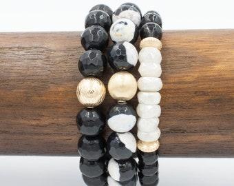 Midnight Stack Bracelet Set | Black + White Beaded Stack Bracelet Set | Onyx + Moonstone Bracelets