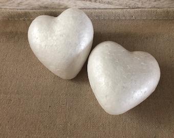 Set of 2 hearts supports styrofoam 7 cm