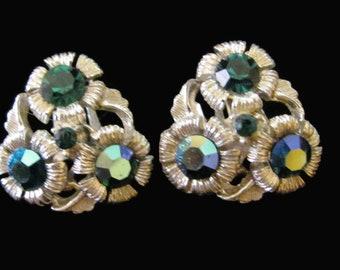 Beautiful Vintage Teal Green & AB Rhinestone Clip On Earrings