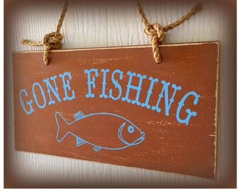 Gone Fishing Wood Sign, Father's Day Gift, Camp Sign, Man Cave, Fishing Decor, Rustic Cabin Sign, Nautical Sign, Boat Decor, Epsteam, ESASO
