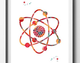 Atom Watercolor Print Science Art Poster Nuclear Model Abstract Print Atomic Structure And Isotopes Physics Wall Art Decor