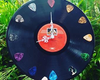 Record Clock Guitar Pick Music Teacher Theme 50's 60's 70's 80's Decoration Wedding Retro Disco Vintage Rock n Roll Vinyl home decor gift