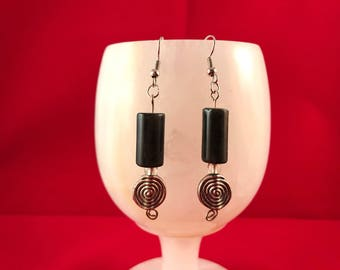 Spiral with black labrodorite dangle -nickle free