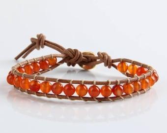 Wrap beaded leather bracelet