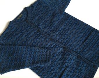 Vintage wool cardigan Swedish blue Cardigan Nordic pattern cardigan Olands Trojan Knit cardigan