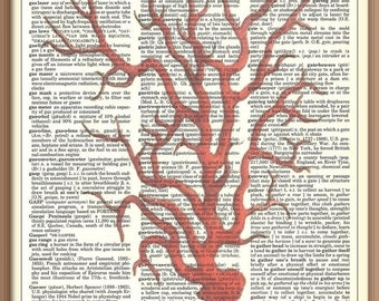 RED CORAL print 2---Vintage Dictionary Art Print-Fits 8x10 Mat or Frame