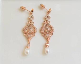 Rose Gold Pearl Earrings | Dangle Pearl Earrings | Pearl Bridal Earrings | Bridesmaid Earrings | Bridal Jewelry | Weddings