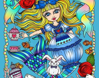 ALICE in Waterland Coloring Book Adult coloring Wonderland art Color pages fantasy