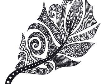 Page à colorier plume