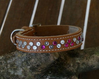 Adorned with Rhinestone dog collar leather necklace