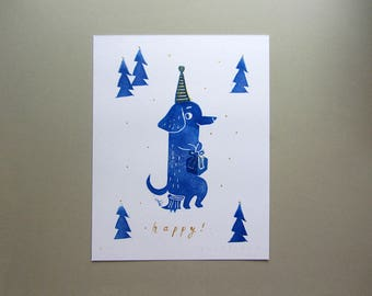 "Original ""Happy!"" handprinted greeting card"