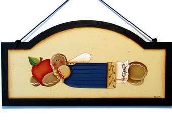 Ginger with Apple Arched Sign, Handpainted Wood, Hand Painted Prim Gingerbread Decor, Wall Art, Tole Decorative Painting