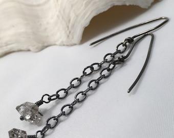 Herkimer Diamond Tourmalated Quartz, Antiqued Sterling Silver Earrings-Black Ice