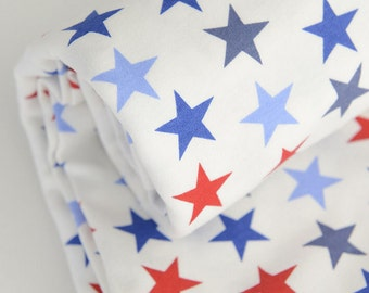 Wide Cotton Knit Fabric, Baby Fabric, Baby Cotton, Stretch Fabric, Blue Red Stars on White background- 1/2 yard