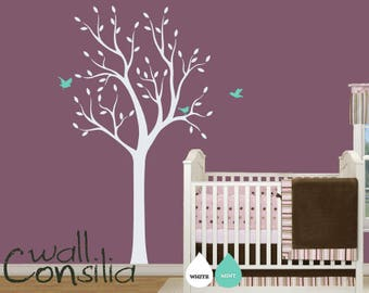"""White Tree Wall Decal Baby Nursery Wall Decals Tree Wall Mural Wall Art Sticker Wall Decoration - Large: approx 75"""" x 38"""" - W013"""