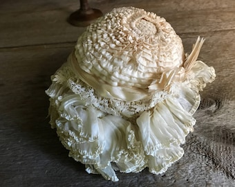 1800s French Silk Lace Baby Bonnet, Dolls Clothing