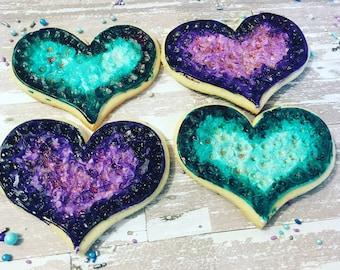 1 dozen geode rock  inspired cookies!