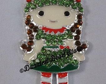 Rhinestone bling ELF girl CHRISTMAS PENDANT chunky