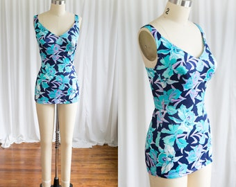 Waikiki swimsuit | vintage 70s bathing suit | 1970s one piece swimsuit | turquoise Hawaiian floral swimsuit | vintage backless bathing suit