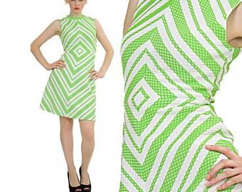 Vintage Mod dress Boho Mini Dress Hippie dress party mini dress neon geometric dress Festival dress Mod dolly party mini dress S