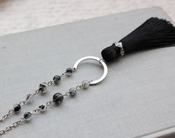 Quartz Tourmaline Tassel Necklace. Black Tassel Necklace.