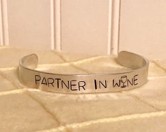 Partner in Wine Aluminum Cuff