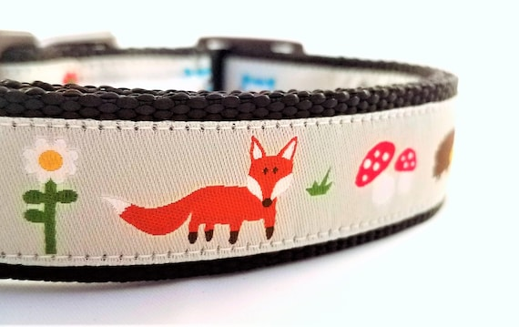 Mr Fox and his Friends - Dog Collar / Adjustable / Dog Collar / Large Dog Collar / Fox / Hedgehog / Owl / Woodpecker / Squirrel Dog Collar
