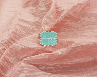 "Fabric by the Yard - Crushed Taffeta Fabric - Polyester 54"" Wide Crushed Accordian Taffeta Fabric - Blush Pink"