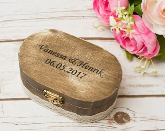 Ring Box wedding Bearer Ring Pillow Country Chic Wedding Holder Personalize Rustic Box Lace Burlap Ring Box Wedding Decoration
