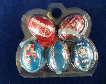 Set of 5 real vintage Pysanky eggs