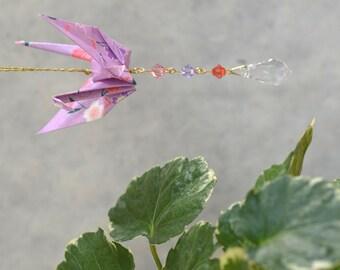 Origami Crane Suncatcher - lavender paper with flowers, hand varnished, with brilliant Swarovski crystals