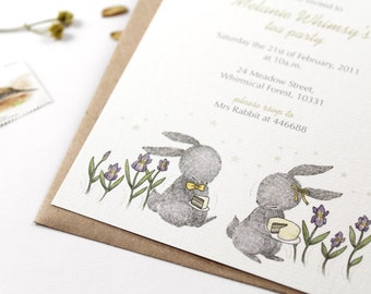 10 Personalized Invitations - Let's Have a Tea Party