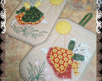 "Pot Holders mud rug Trivets Cotton Trivets Hot Pads Trivets Set ""Tilde rabbit"" - Embroidery Machine Patterns Design"
