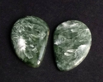Seraphinite Fancy Smooth Cabochon, Natural Seraphinite Designer Cabochon Pair, 25x19 MM, 27 Cts, Loose Gemstone Pair.