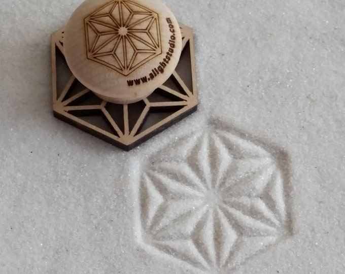 MINI Sand Stamp, Hexagon Star Design, Zen Garden Stamp