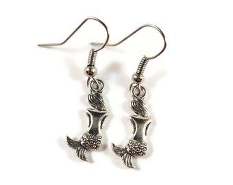 Mermaid Charm Earrings, Silver Mermaid Earrings, Beach Earrings, Summer Jewelry, Nautical Jewelry, Mythical Jewelry, Ocean Jewelry