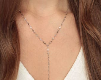 Delicate Lariat / Y-Necklace - Stainless Steel, minimalistic, dainty