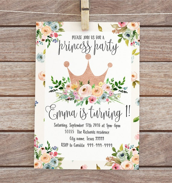 Gold floral crown invitation First birthday invite Princess