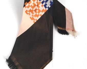 """Vintage 1920s, 20s Mens Tie, Brown Tie, Vintage Silk Tie, 1920s Mens Tie, Lindy Hop Gifts, Swing Tie, Gifts For Him, Mens Art Deco Ties, W4"""""""
