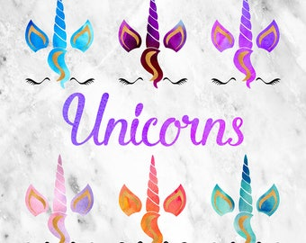 Unicorn Clipart, Unicorn Faces Clipart, Unicorn Horn, Watercolor Unicorn Graphics, Magical Unicorn Face Clip Art, Instant Download, BUY5FOR8