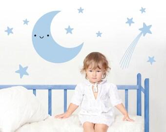 Happy Moon & Stars Wall Decal Baby Nursery Kids