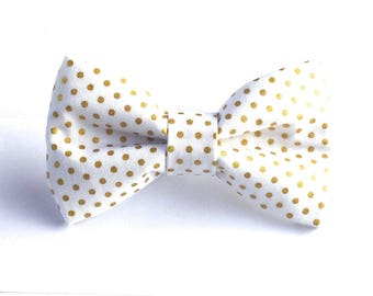 White & Gold Polka Dot Dog Bow Tie