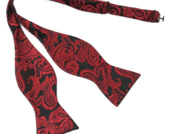 Red/Black Paisley Bow Tie | selftie bowtie | paisley bowtie | gift for groomsmen | bowties for men | paisley bowties | mens bowties | gift
