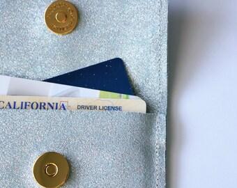 Shimmer Blue Key chain Wallet, Key chain Wallet