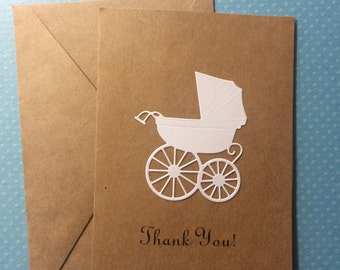 Baby Shower Thank You Card, Baby Carriage Card Baby Buggy Card, Pram Card, Customize Color of the Carriage, Blank Note Cards and Envelopes