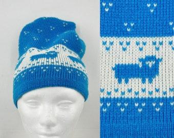70s Sheep Knit Beanie Cap Ski Winter Hat Skiing Kawaii Baby Blue Pastel Kei Fairy Decora Cute Cutesy Folk Vaporwave 1970s Adorable Lamb