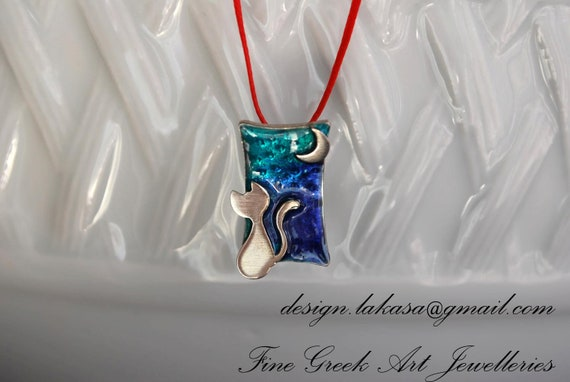 Necklace Cat Moon Silver 925 White Gold-plated Enamel Jewelry Lakasa e-shop Best gifts ideas for her birthday anniversary for ever friends